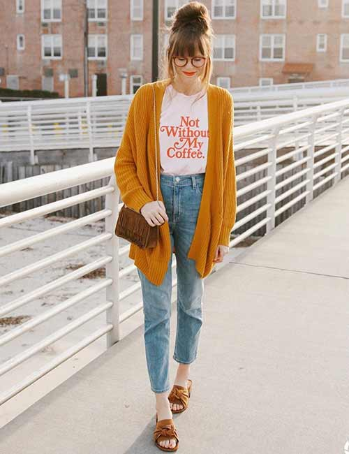 High Waisted Jeans - With A Caption T-Shirt And Bold Color Long Sweater